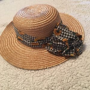 Sunflower Gingham Straw Sun Hat